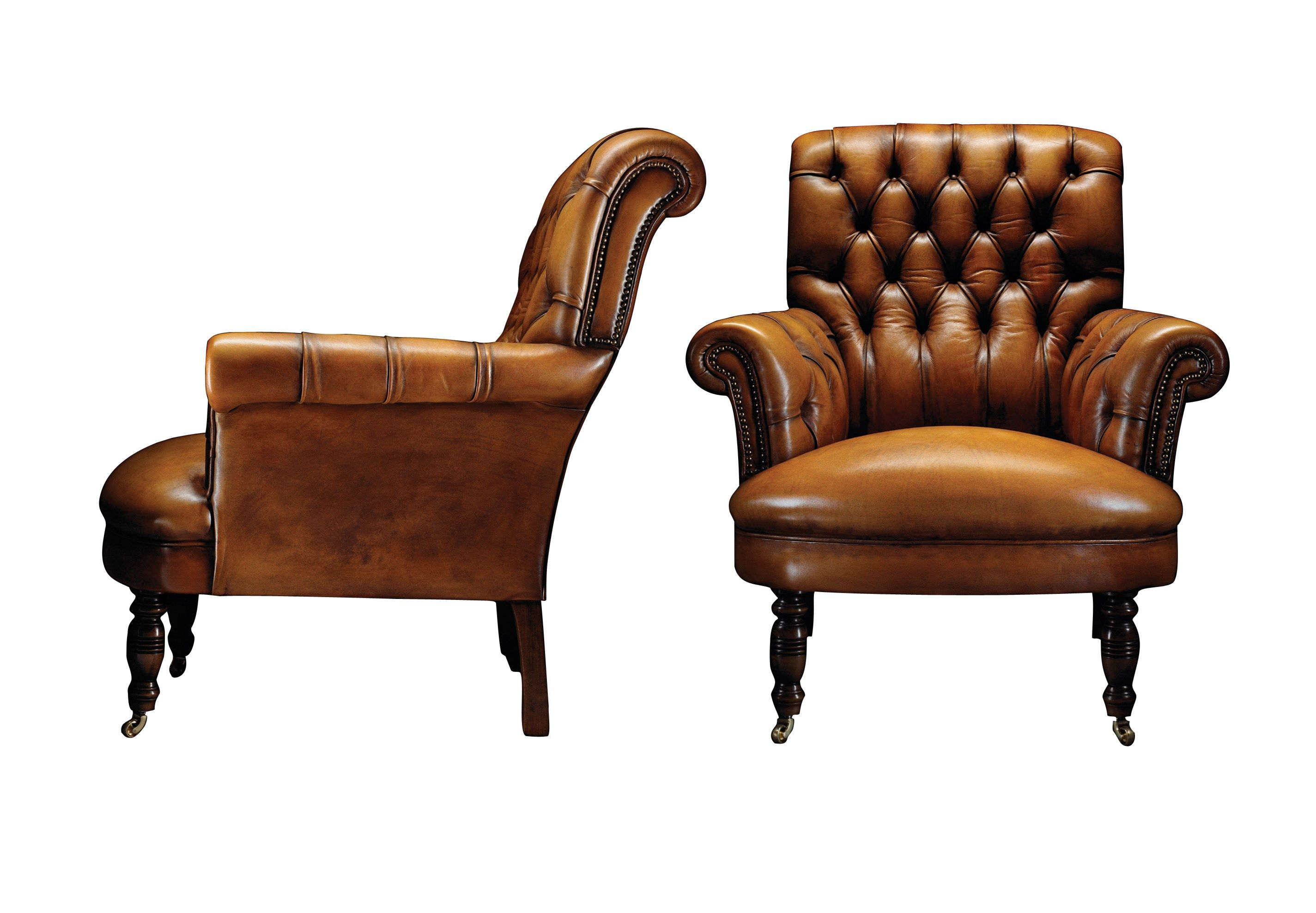 Single Chesterfield Tan Leather Sofa Tufted Seat