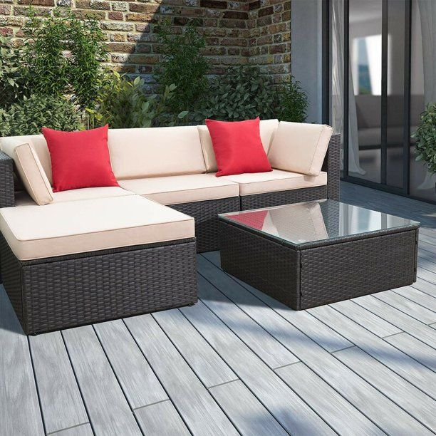 Walnew 5 Pieces All-Weather Conversation Set and Glass ...