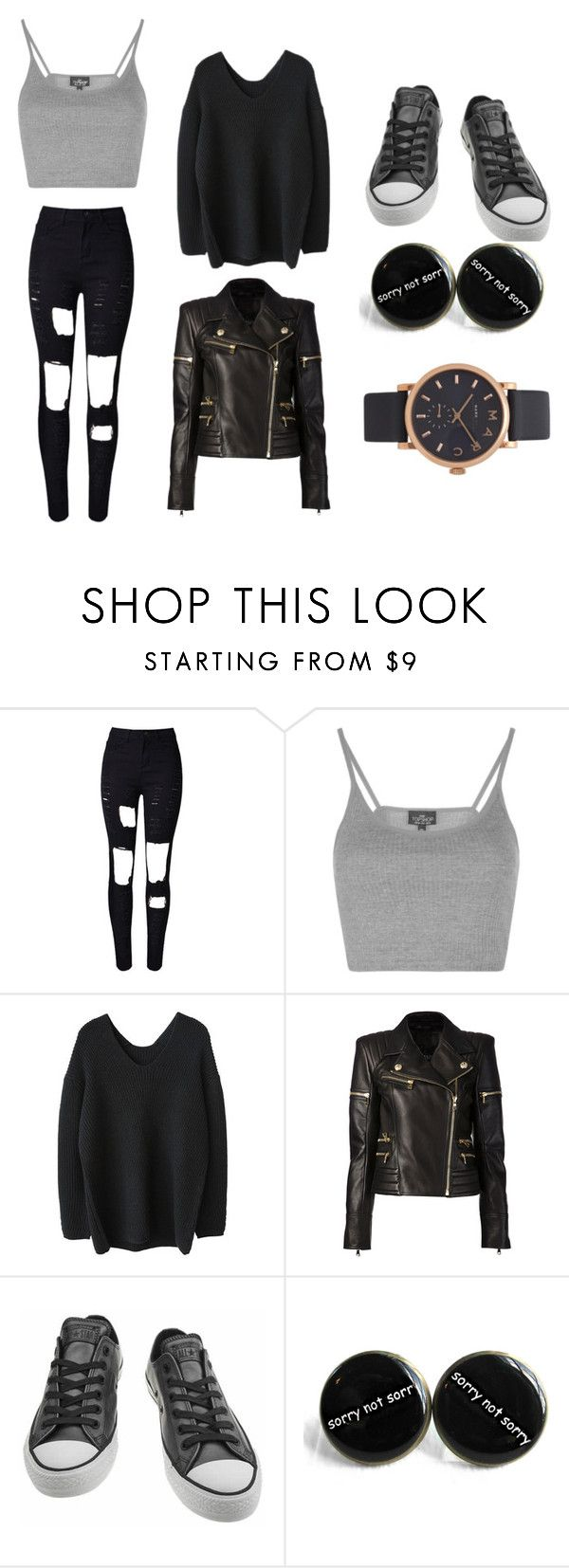 """Untitled #16"" by iamrosyrosalie on Polyvore featuring WithChic, Topshop, Balmain, Converse and Marc Jacobs"