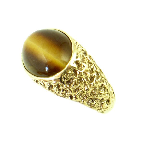 Vintage Men 39 S Tiger 39 S Eye Ring In 10k Gold Vintage 10k Gold Tiger Eye Ring Small Men 39 S Gold Ring Mens Gold Rings Gold Tiger Eye Rings For Men