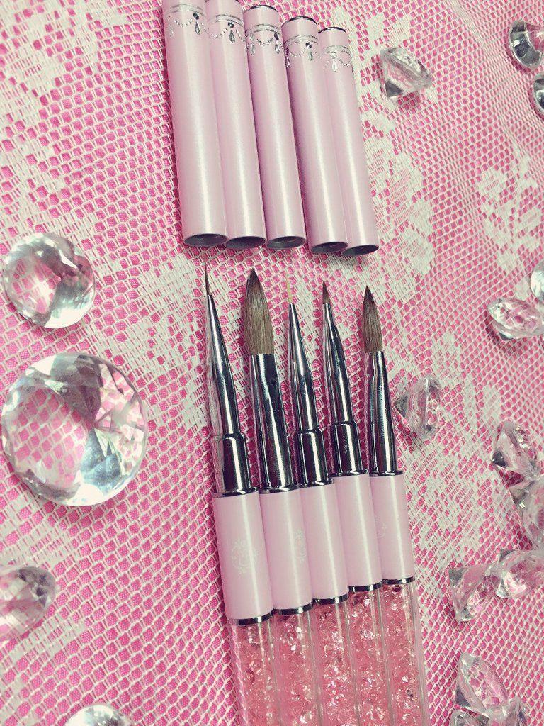 Pink Magic Nail Art Brush Set Set Of 3 Brushes Diamond Pink Nails Home Nail Salon Nail Brushes