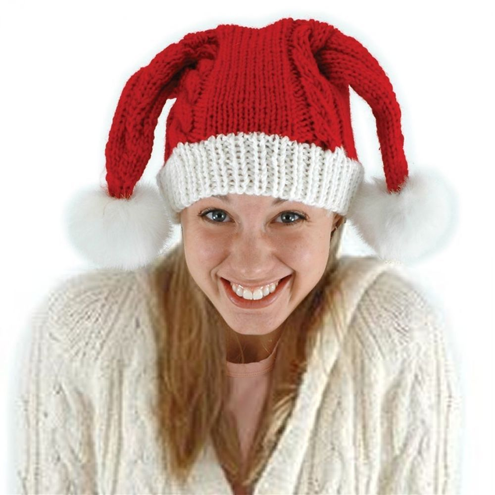 Knit Santa ADULT Child Hat Costume Accessory NEW Christmas Knit Pom