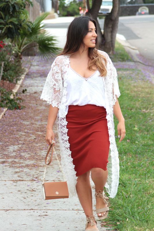 Comfy dinner by the beach outfit, lace cardigan and white flowy ...