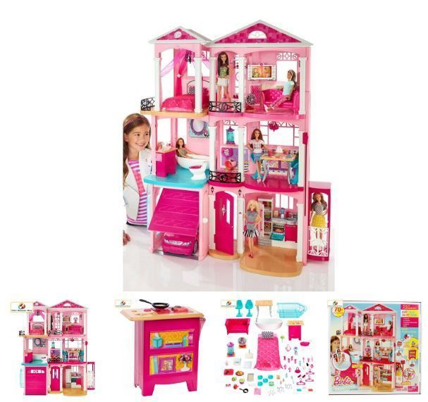 Barbie Doll Dreamhouse 3 Story Dollhouse Playset With Furniture