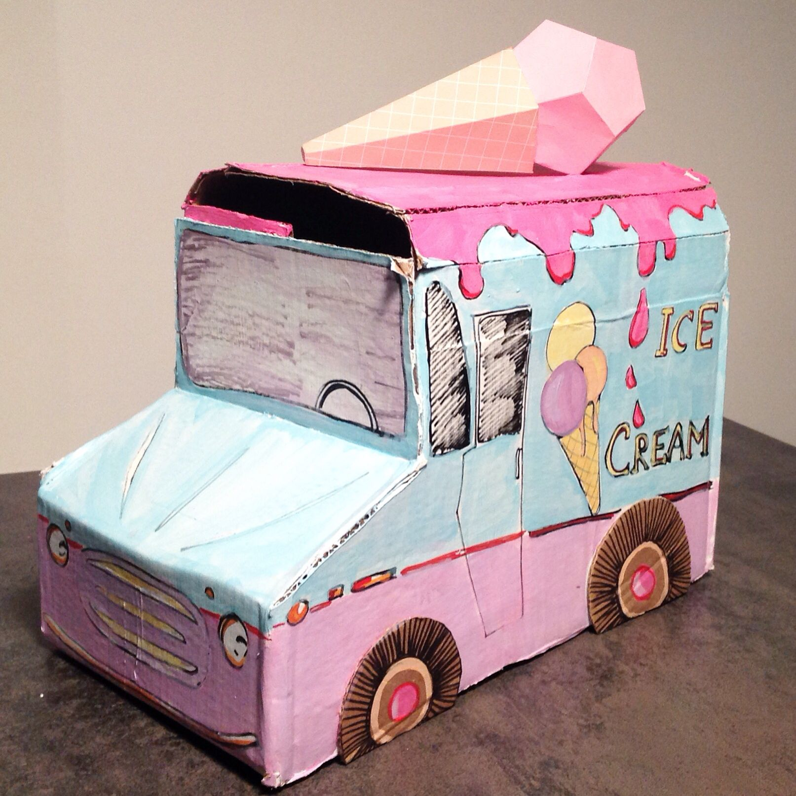Cardboard ice cream truck for cars themed birthday party