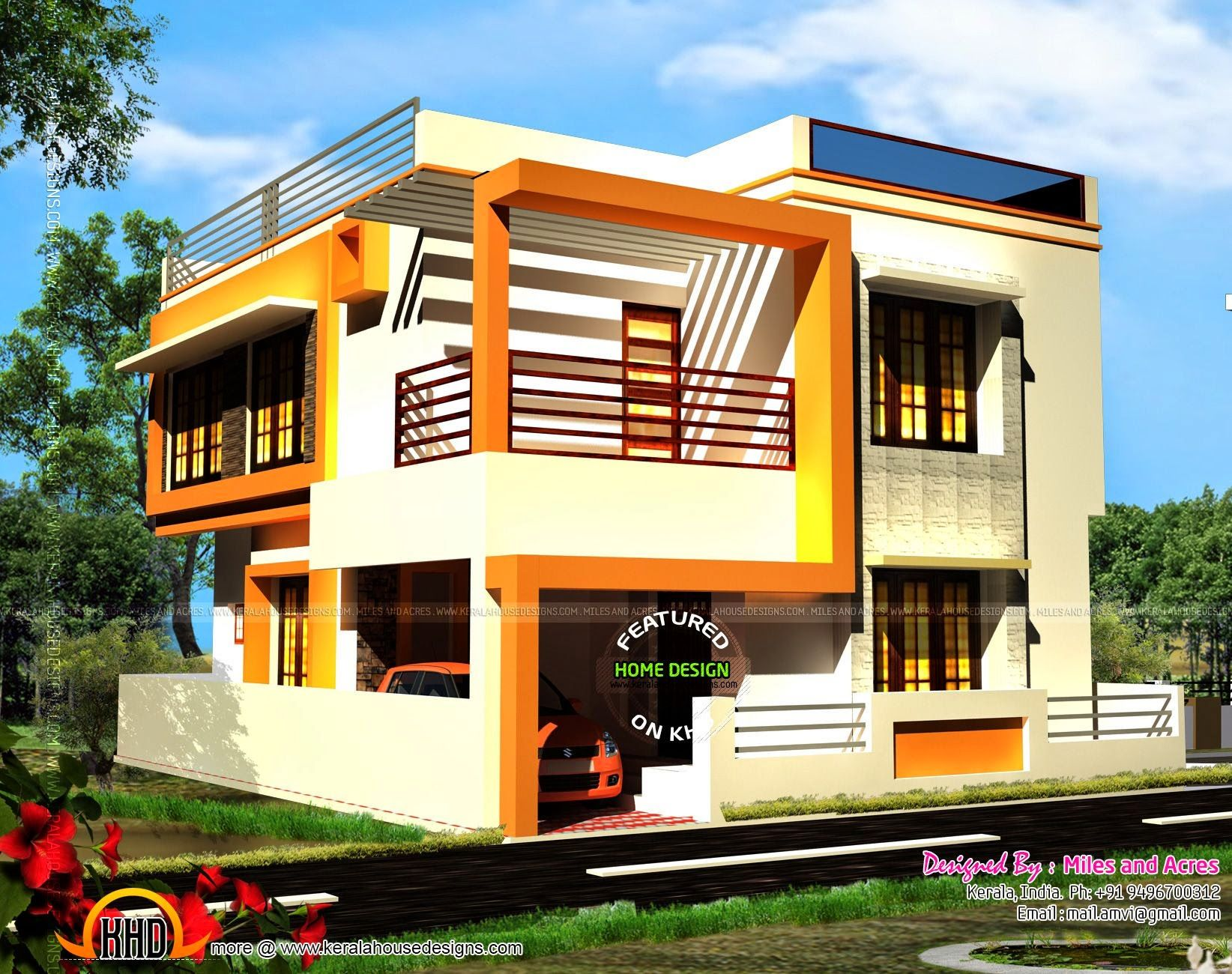 Free house plan and elevation modern house design small
