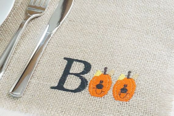 Buy Burlap Placemats, Embroidered Placemat, Boo Pumpkins, Halloween, Fall, Autumn, Rustic Table Placemat, 13 x 18 by fairstreetcrafts. Explore more products on http://fairstreetcrafts.etsy.com