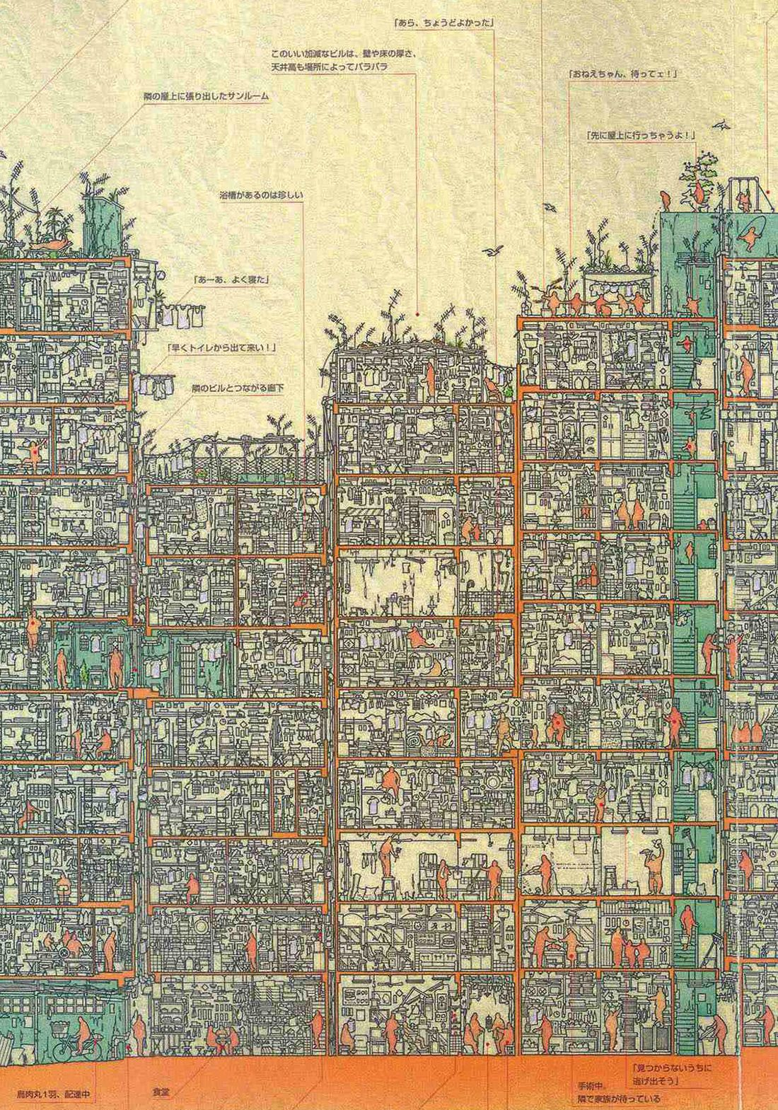 An Illustrated Cross Section of Hong Kong's Infamous Kowloon Walled