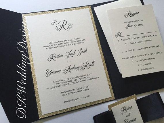 Pocketfold Invitation, Glitter Pocketfold, Wedding Invitation