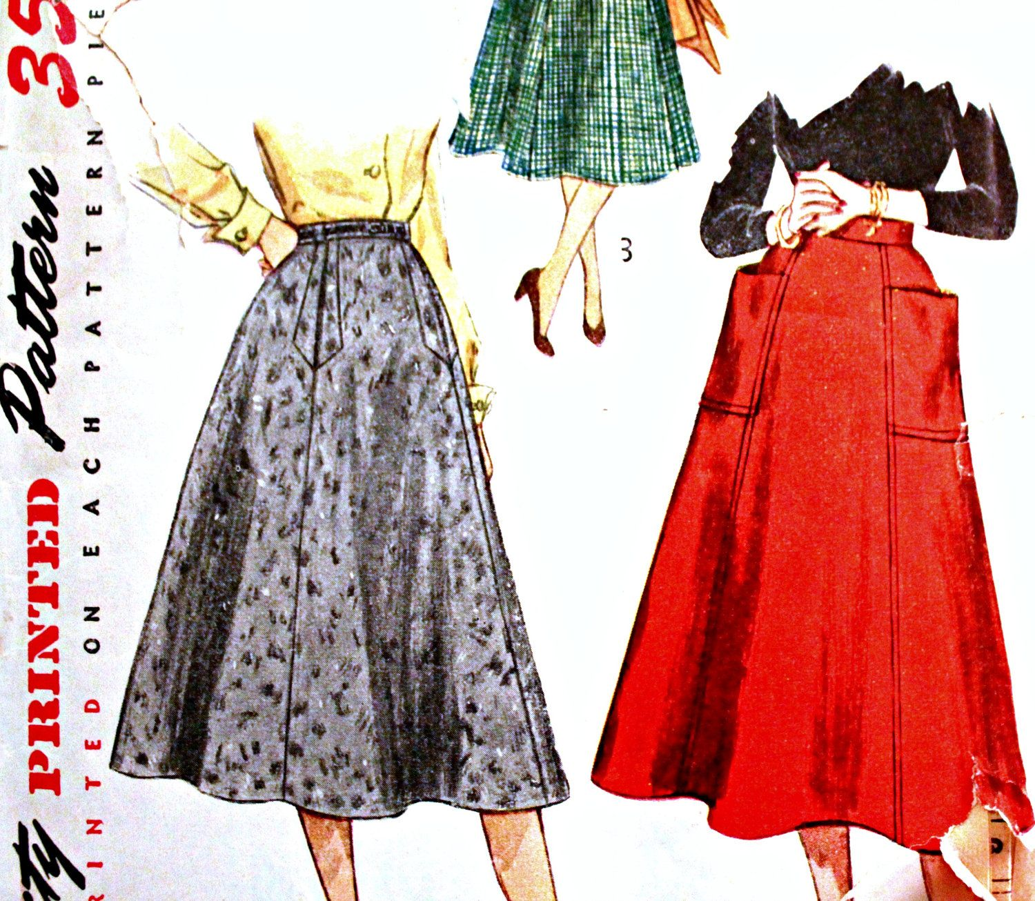 Vintage Sewing Pattern for 50s Full Skirt, Waist 30, Hip 39: Simplicity 4083. $5.00, via Etsy.