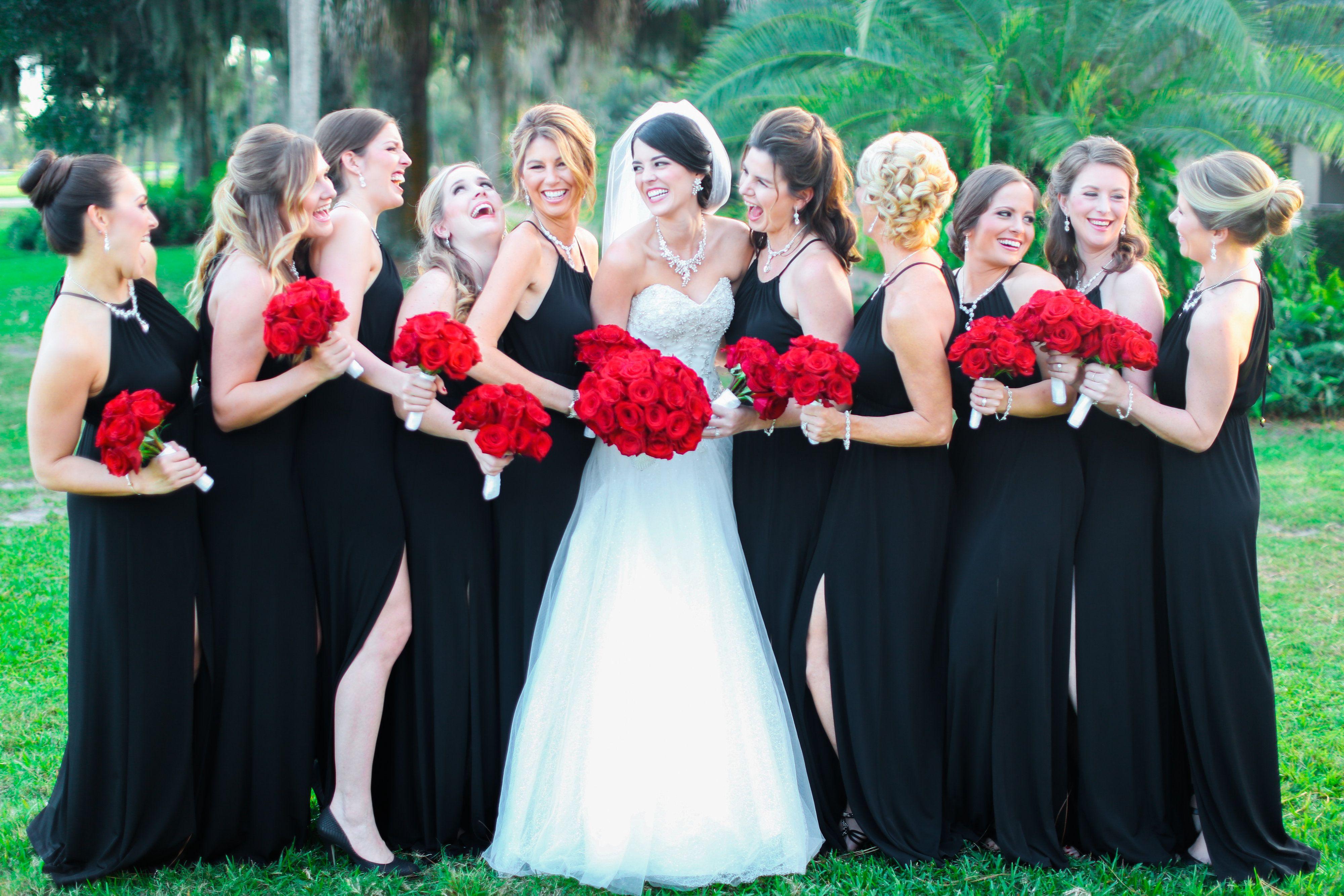 Bride Bridesmaids Photo Bouquets Red Roses Black Dresses Lee Forrest Design Red Black Wedding Classic Black Red Wedding Wedding Classic Red Rose Wedding [ 2667 x 4000 Pixel ]