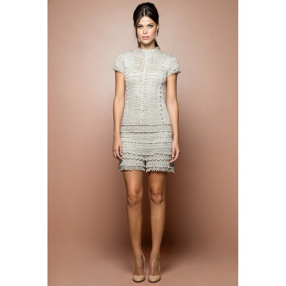 Silver Vintage Crochet Jumpsuit - Vanessa Montoro - vanessamontorolojausa