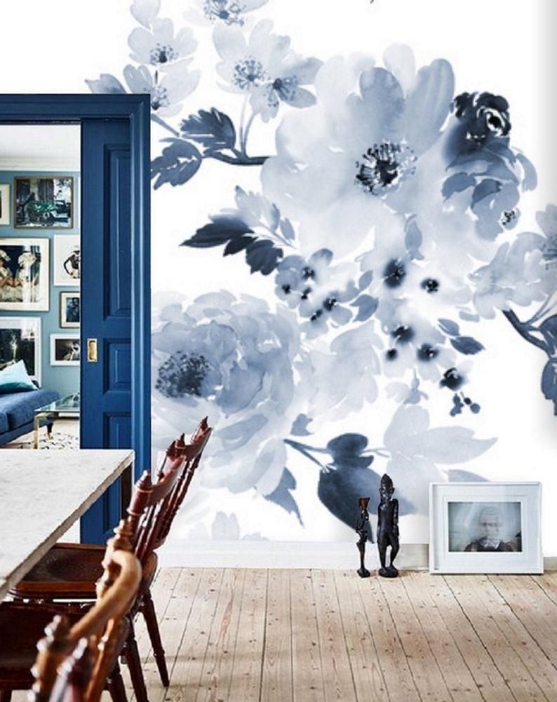 Blue And White Floral Wallpaper Blue Wall Mural Remove Etsy Blue Flower Wallpaper Floral Wall Decals Wall Murals