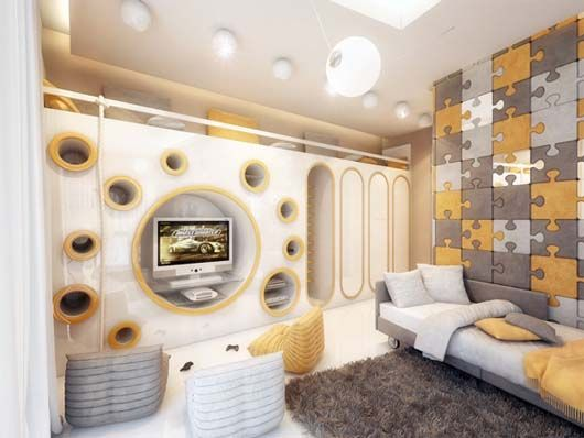 Children Room Decoration With Cool Wall Paneling Kids Room Design Room Design Cool Kids Rooms