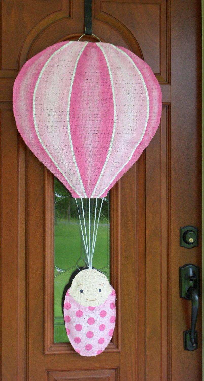 Baby Bundle In Burlap Hot Air Balloon Door And Wall Hanger
