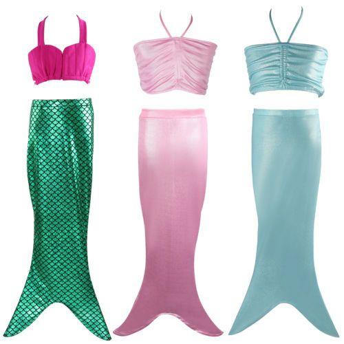 79532963ac59 Girls kids mermaid tail swimming  bikini swimming  costume swimsuit top   dress uk