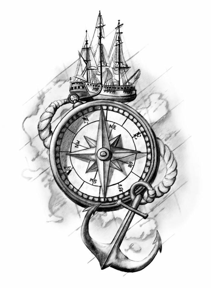 Large Ship Compass Tattoos For Men Black White Drawing Map Of The World Compass Tattoo Design Compass Tattoo Compass Drawing