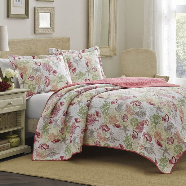 Laura Ashley Surf Spray Coral Reversible 3-piece Quilt Set