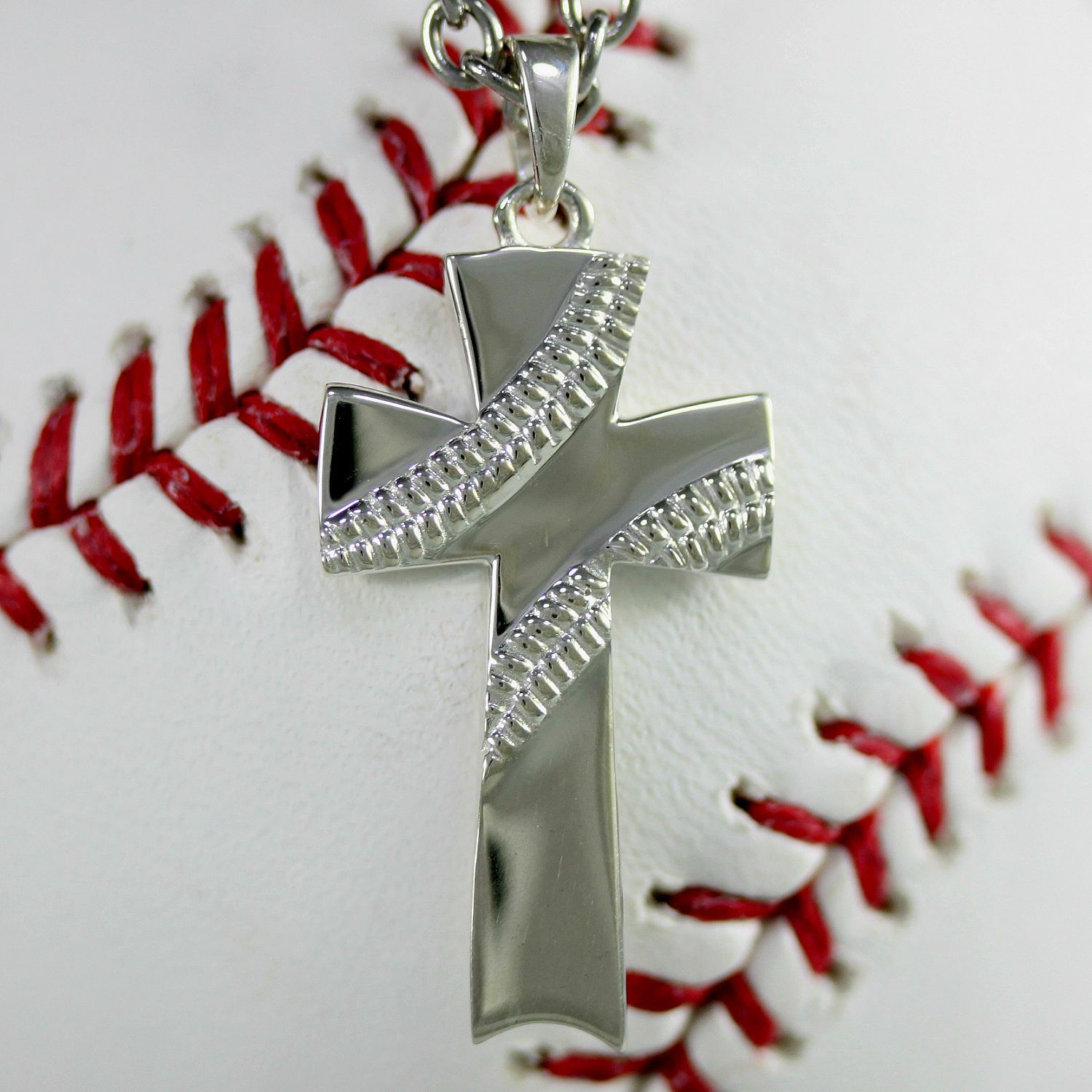 in chain palmbeach silver at pendant mens necklace detail steel cfm stainless baseball with cross products jewelry sterling