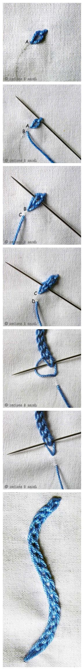 Tutorial. Puntada cadena doble | costura | Pinterest | Cadena doble ...