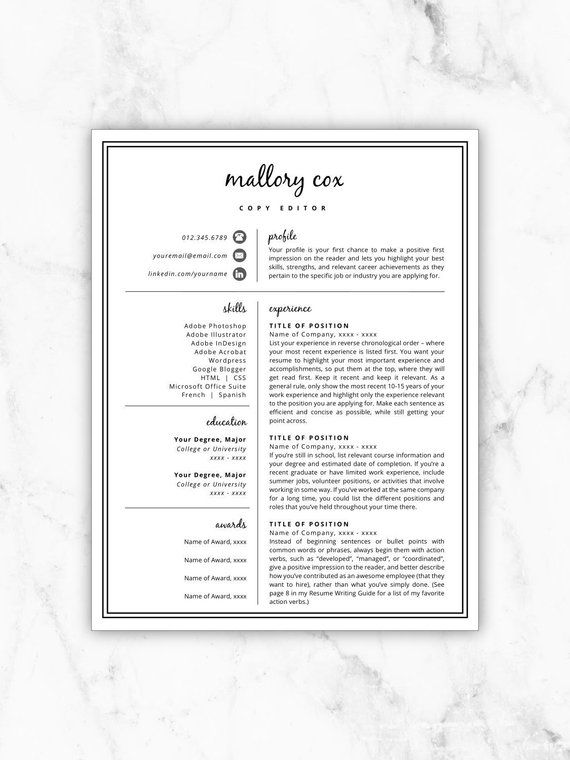 Resume Icons, Resume Design, Resume Template Word, Resume Cover - Copy Editor Resume