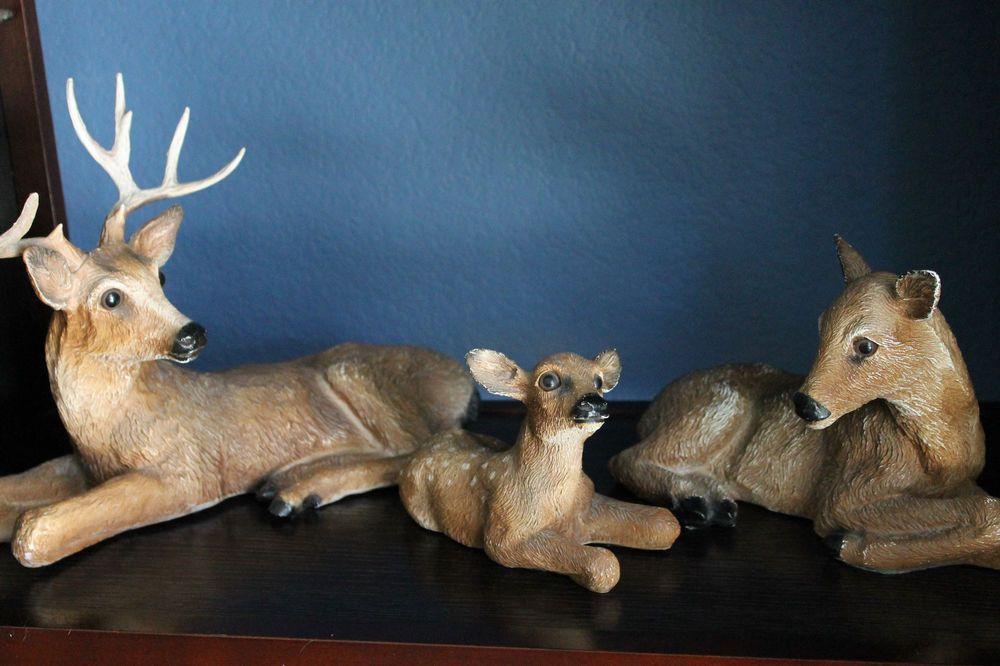 Vintage Rustic Hunting Cabin 1984 Homco Home Interior Plastic Buck Deer Doe  Set