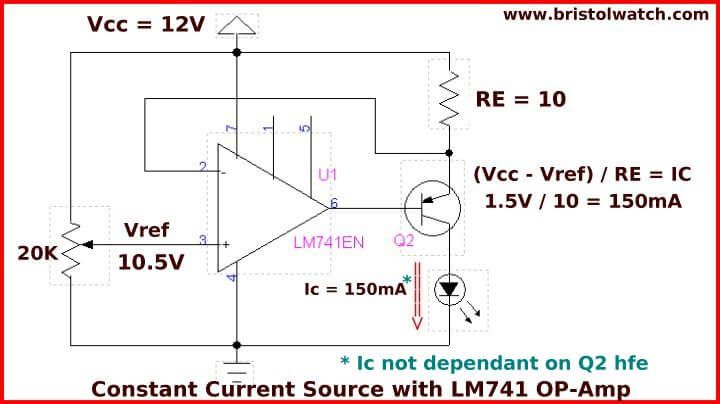 Constant Current Circuit With A 741 Op Amp And A Pnp Transistor