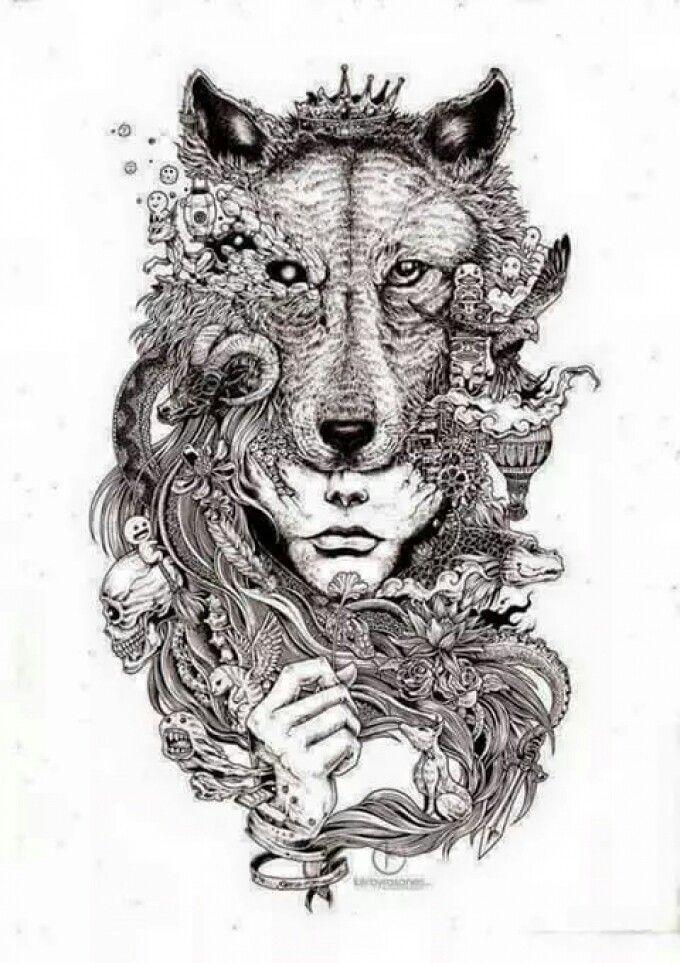 Fantasy Wolf Woman Tattoo Design Drawings Tattoo Illustration