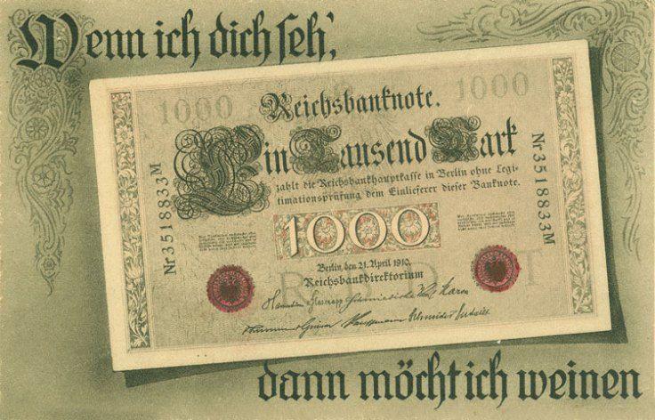 Wenn ich dich seh' Spottpostkarte 1922 Karten, Geld