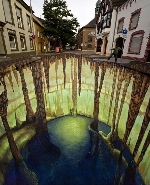 Стрит-арт на асфальте. 3D изображения на стенах и дорогах