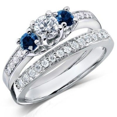1 Carat Round Diamond and Blue Sapphire Wedding Ring Set for Her in