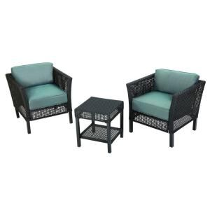 Hampton Bay Fenton 3 Piece Patio Chat Set With Peacock And Java  Cushions DY9131