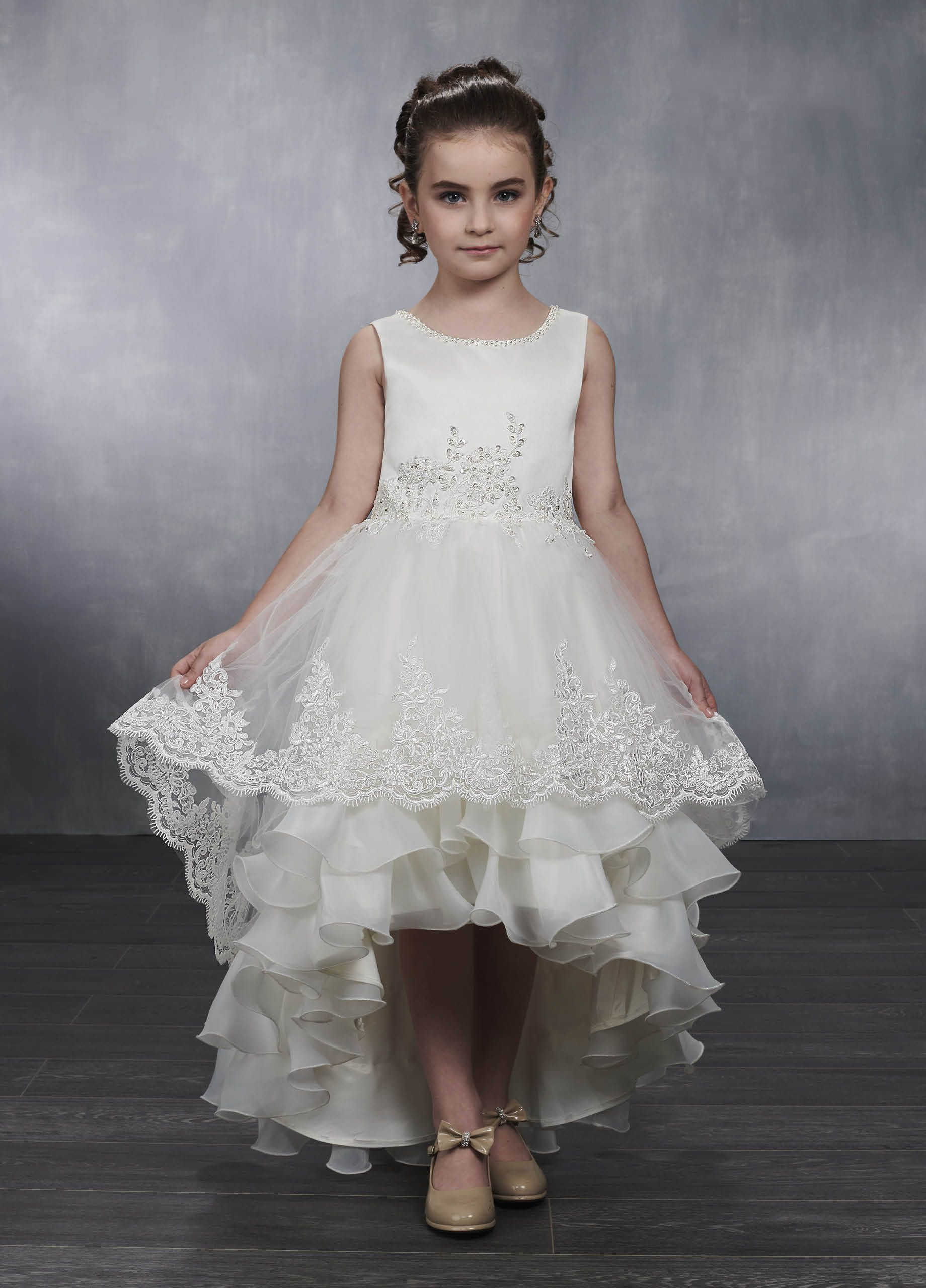 563db0ccfe8 Pearl Neck Ivory Satin Tulle Lace Trim Tiered High Low Skirt Flower Girl  Dress