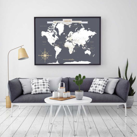 Custom map custom canvas map custom world map art print world custom map custom canvas map custom world map art print gumiabroncs Image collections