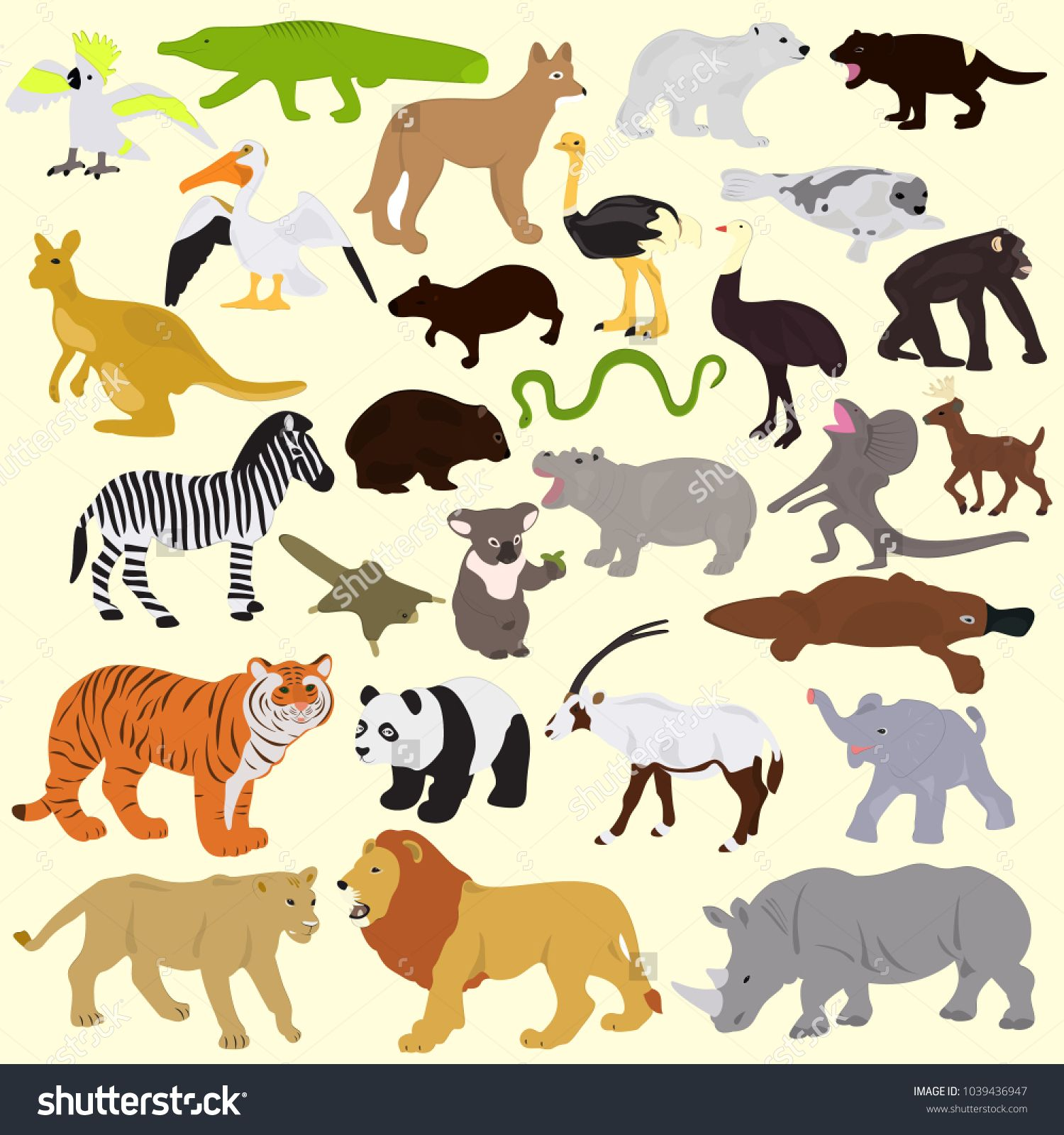 Collection Of Different Animals On A Light Background Image Vector Light Background Images Lights Background Vector Images