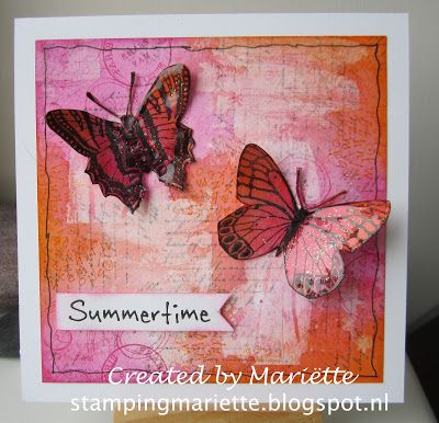 Beautiful butterflies on a background of Nuance. On some parts of the background I applied gesso with an old credit card, so that those gesso parts will resist the Nuance. - Stamping Mariëtte