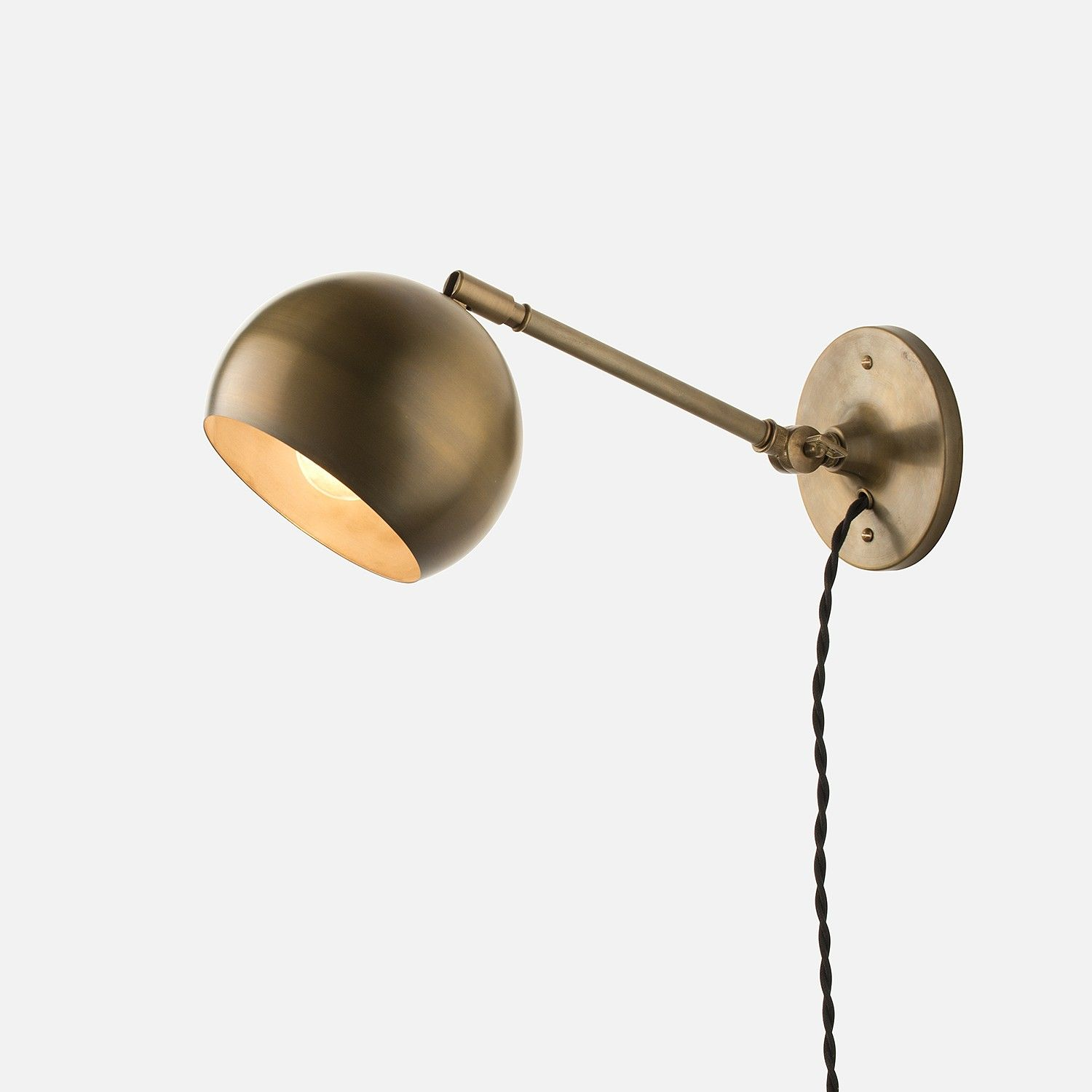 $183 Guest room sconces Schoolhouse Electric: Isaac Plug-In Sconce Brass -  Long Arm - Isaac Plug-In Sconce Brass - Long Arm Schoolhouse Electric, Wall