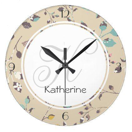 Elegant Floral Pattern Large Clock - decor diy cyo customize home