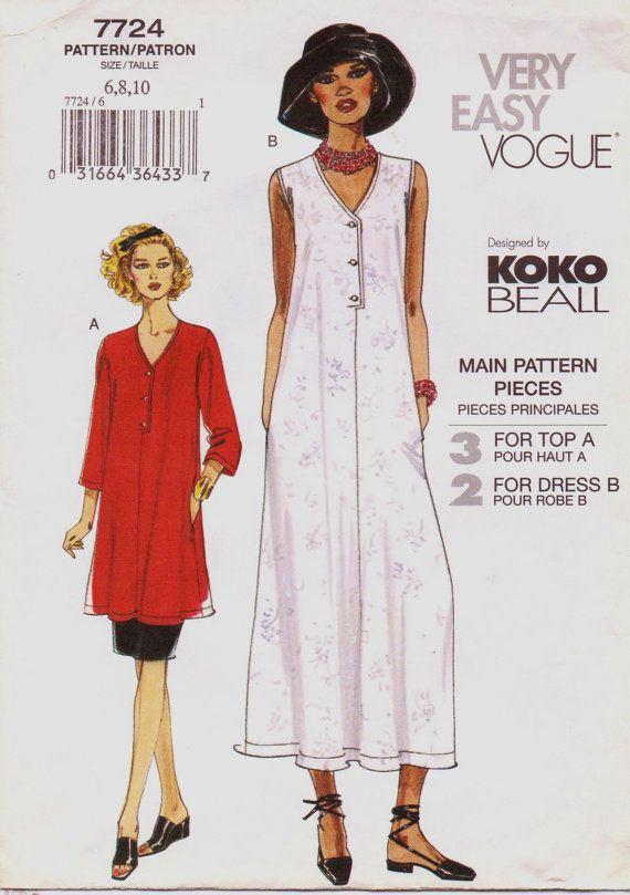 Very Easy Vogue Pattern 7724 Koko Beall Womens By Cloescloset