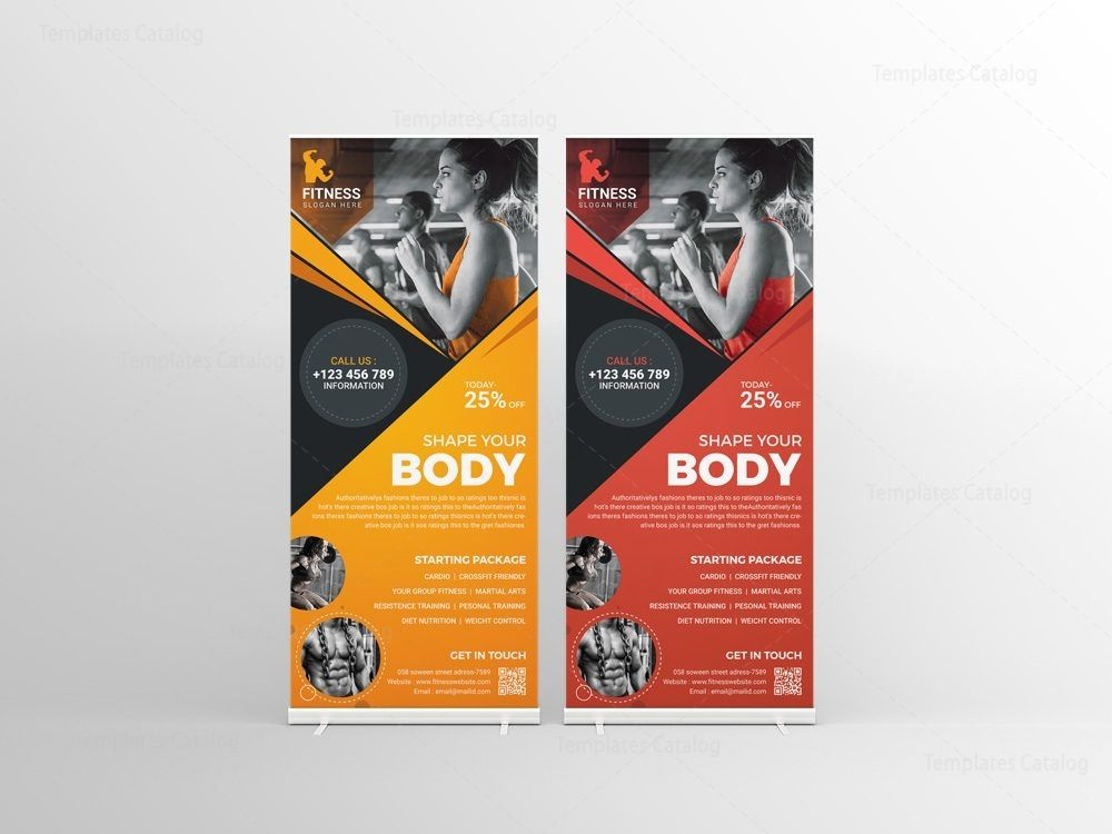Fitness Center Professional RollUp Banner Template 001262