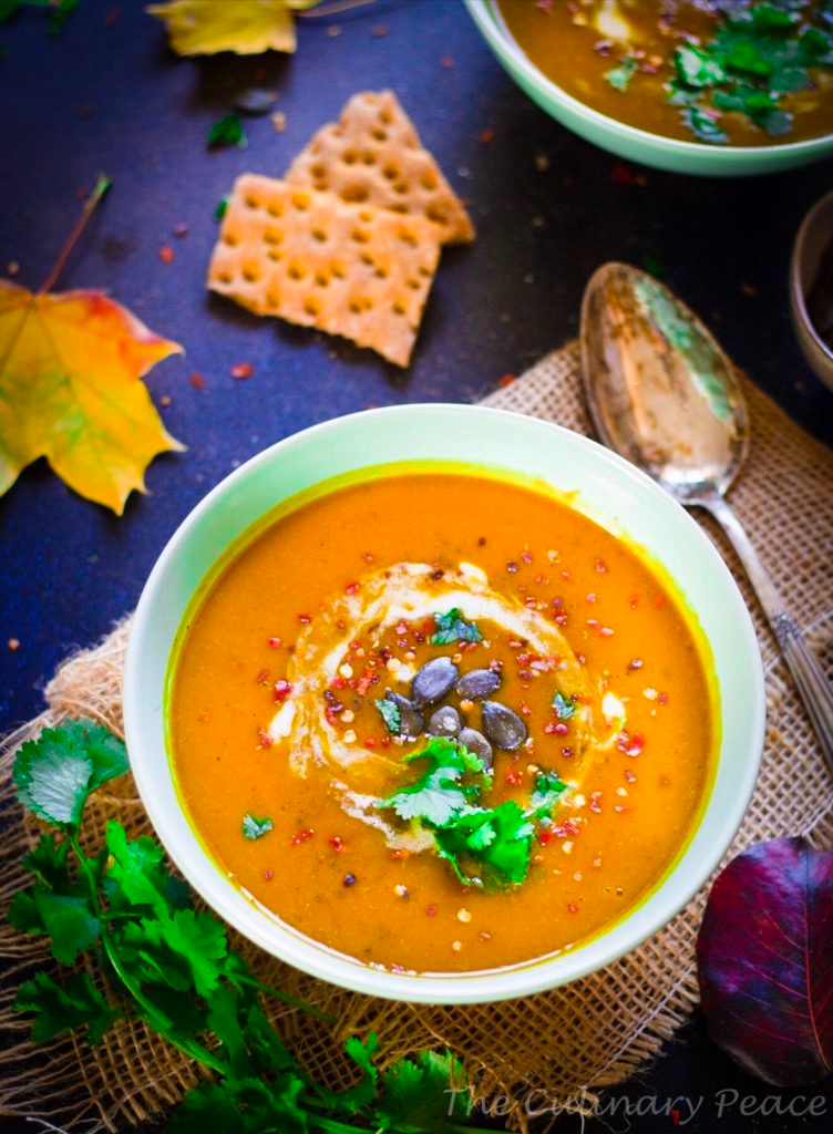 A Delicious Variation To The Regular Pumpkin Soup This Pumpkin Apple Soup Is Vegan Gluten Free Has Fall Soup Recipes Vegan Pumpkin Pumpkin Apple Soup Recipe
