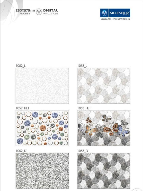 Designer Patterns 1052 1053 Millennium Tiles 250x375mm 10x15 Digital Ceramic Glossy Backsplash Wall Tiles 1052 L 1052 Hl1 1052 D 1053 L 1053