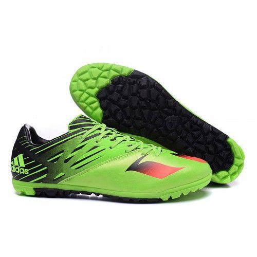 san francisco 5a186 967e3 Adidas Chaussures de foot en salle Messi 15.3 TF Vert Noir Rouge soldes