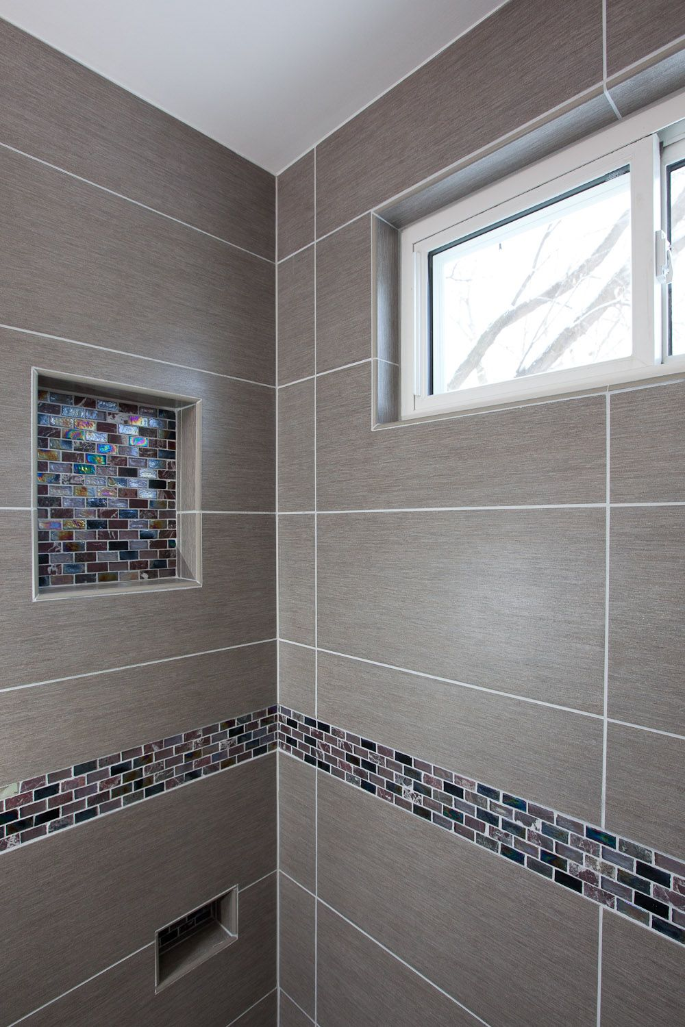 This Lake Minnetonka Bathroom Had Not 1 But 2 Very Dated Baths A Window Was Added To Bring In Natural Light Grey Porcelain Tile Chosen