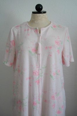 MISS ELAINE Pink Floral Print Terry Zipper Front Duster Housecoat Robe - M $25