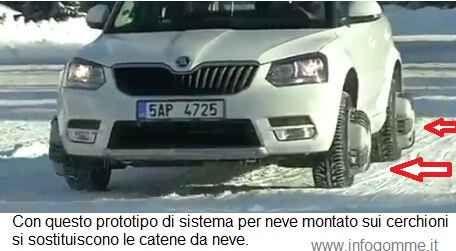 un nuovo sistema per sostituire le catene da neve Peter Gross, un ingegnere ceco ha inventato un disco che applicato alla ruota ed azionato da un telecomando diventa una comoda e maneggevole catena da neve. Il disco ha quattro braccia che si estendo #neve #automobili