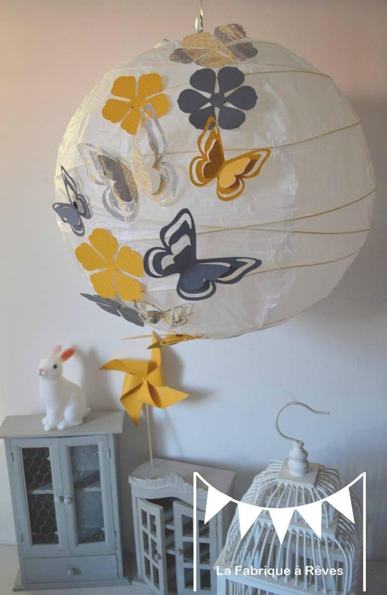 Luminaire Suspension Abat Jour Papillons Fleurs Gris Jaune