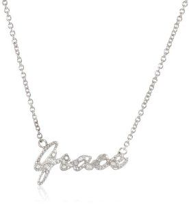 """Sterling Silver Diamond Necklace with Silver Chain, 18""""+1.5"""" Extender"""