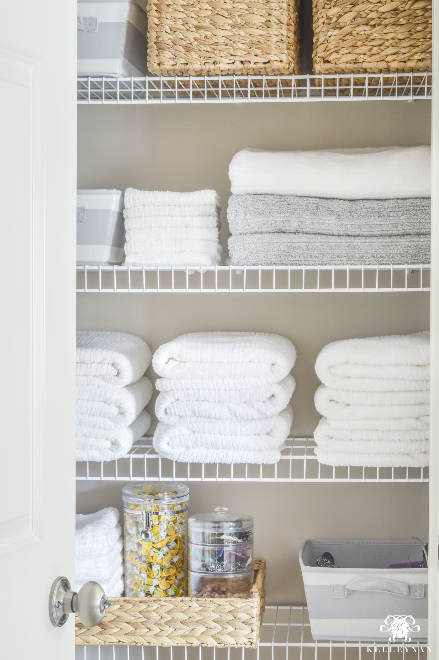 Beau Organized Bathroom Linen Closet Anyone Can Have   Kelley Nan  Elfa Door  System With Medicine Storage Solution
