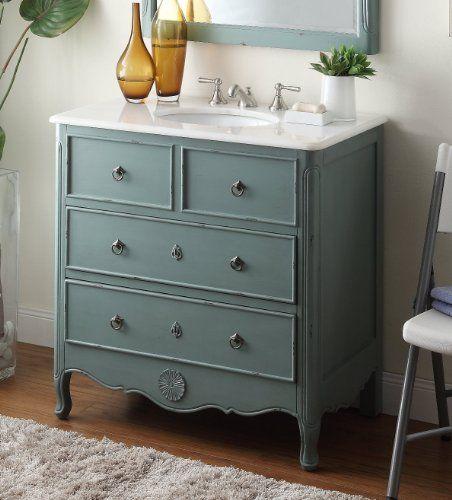 Cottage Look Daleville Bathroom Sink Vanity   Model (Vantage Mint Blue)  Chans Furniture